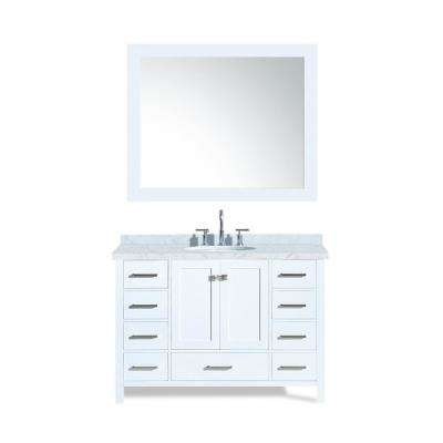 Cambridge 49 in. Bath Vanity in White with Marble Vanity Top in Carrara White with White Basin and Mirror