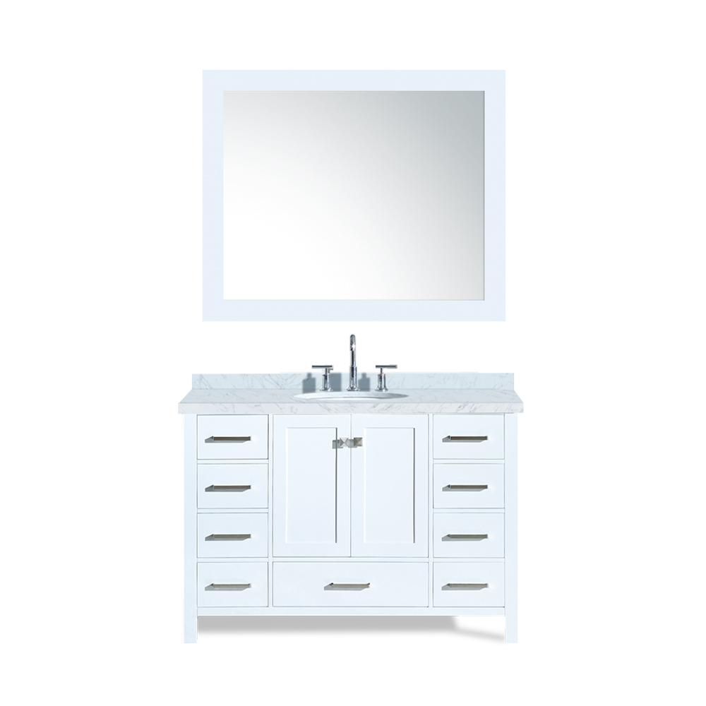 Cambridge 49 in. Bath Vanity in White with Marble Vanity Top