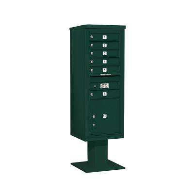 3400 Series 63-1/4 in. 13 Door High Unit Green 4C Pedestal Mailbox with 6 MB1 Doors/1 PL5
