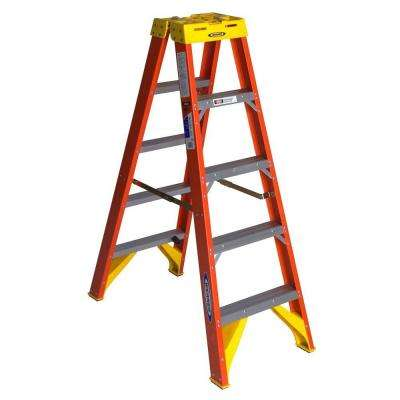 5 ft. Fiberglass Twin Step Ladder with 300 lb. Load Capacity Type IA Duty Rating