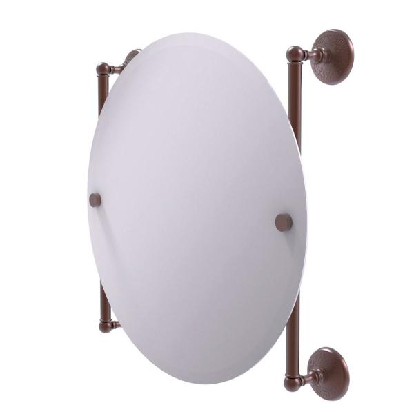 Monte Carlo Collection 22 in. x 22 in. Round Frameless Rail Mounted Mirror in Antique Copper