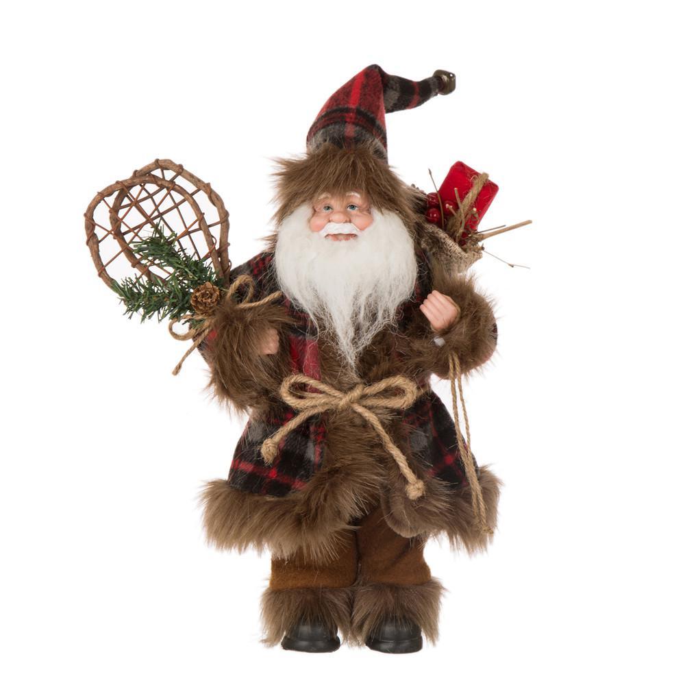 12 in. H Plaid Christmas Santa Claus Figurine