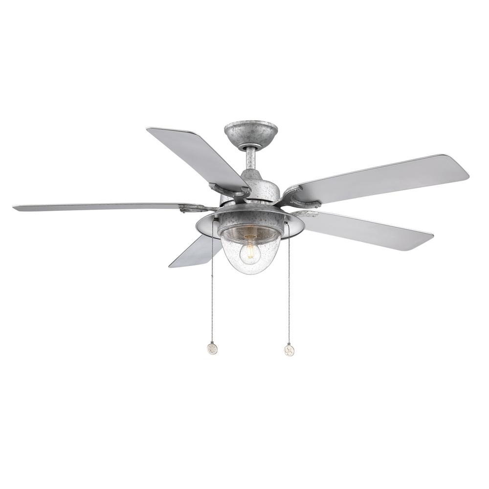 Home Decorators Collection Hanahan 52 In Led Outdoor Galvanized Ceiling Fan With Light Kit
