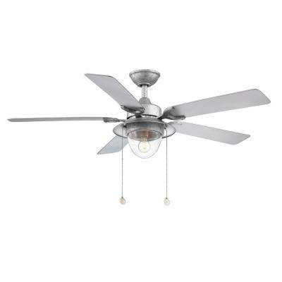 Hanahan 52 in. LED Outdoor Galvanized Ceiling Fan with Light Kit