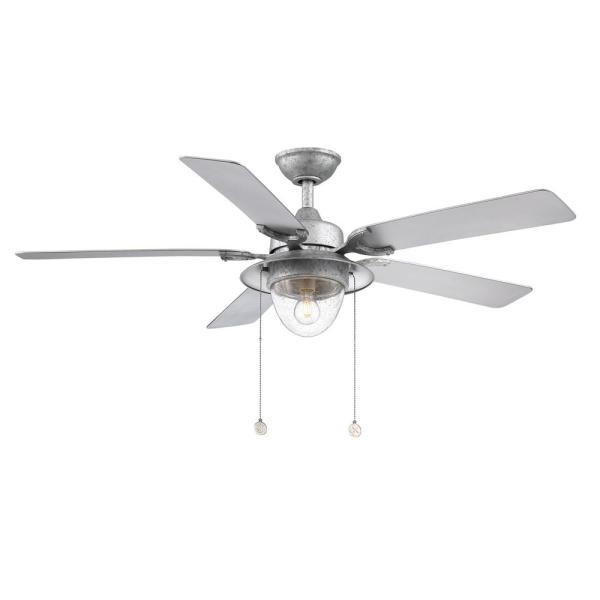 Home Decorators Collection Hanahan 52 In Led Outdoor Galvanized Ceiling Fan With Light Kit Sw17a6 Wet Gi The Home Depot