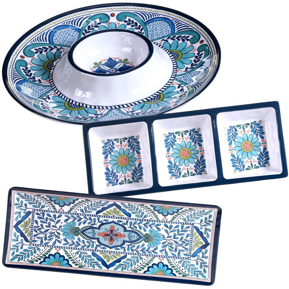 Certified Intl Talavera 3-Piece Blue Hostess Set