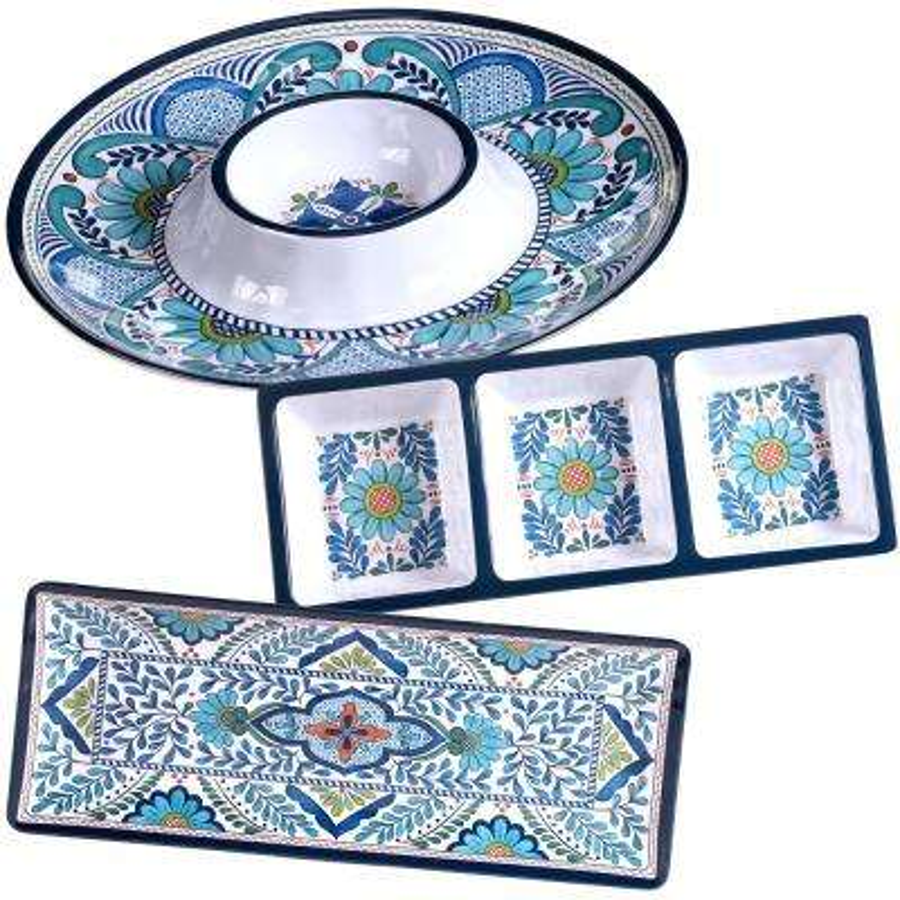 Talavera 3-Piece Blue Hostess Set