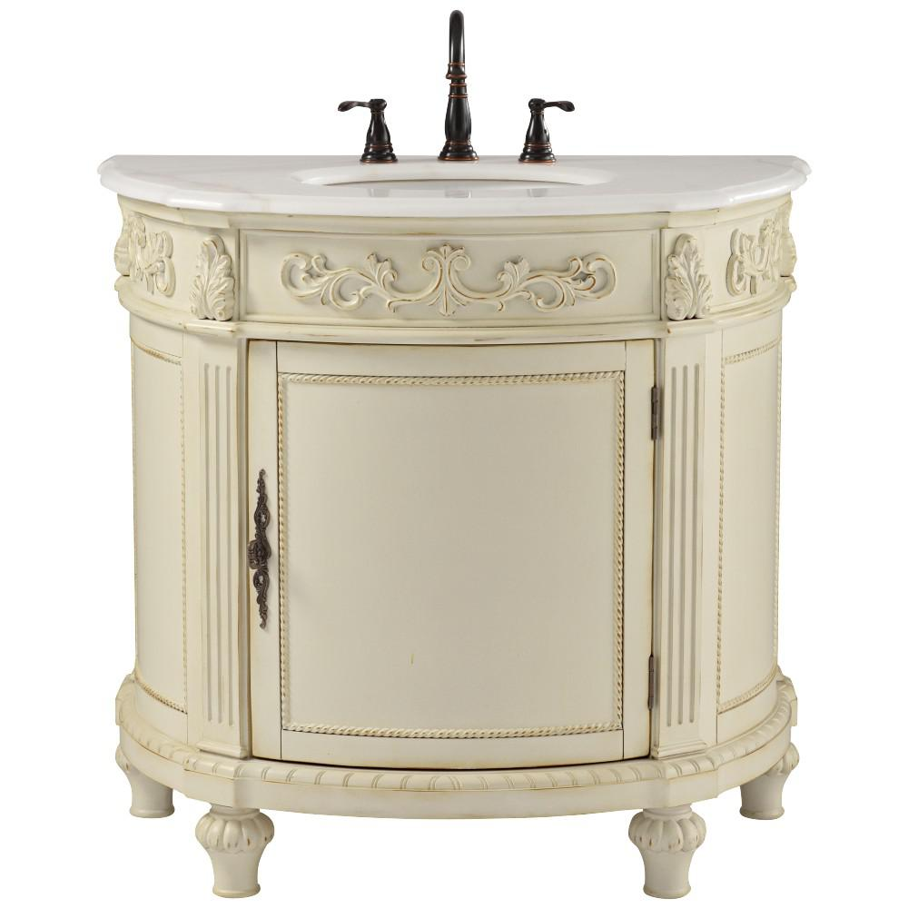 Home Decorators Collection Chelsea 37 in. W Bath Vanity in Antique White  with Marble Vanity Top in White