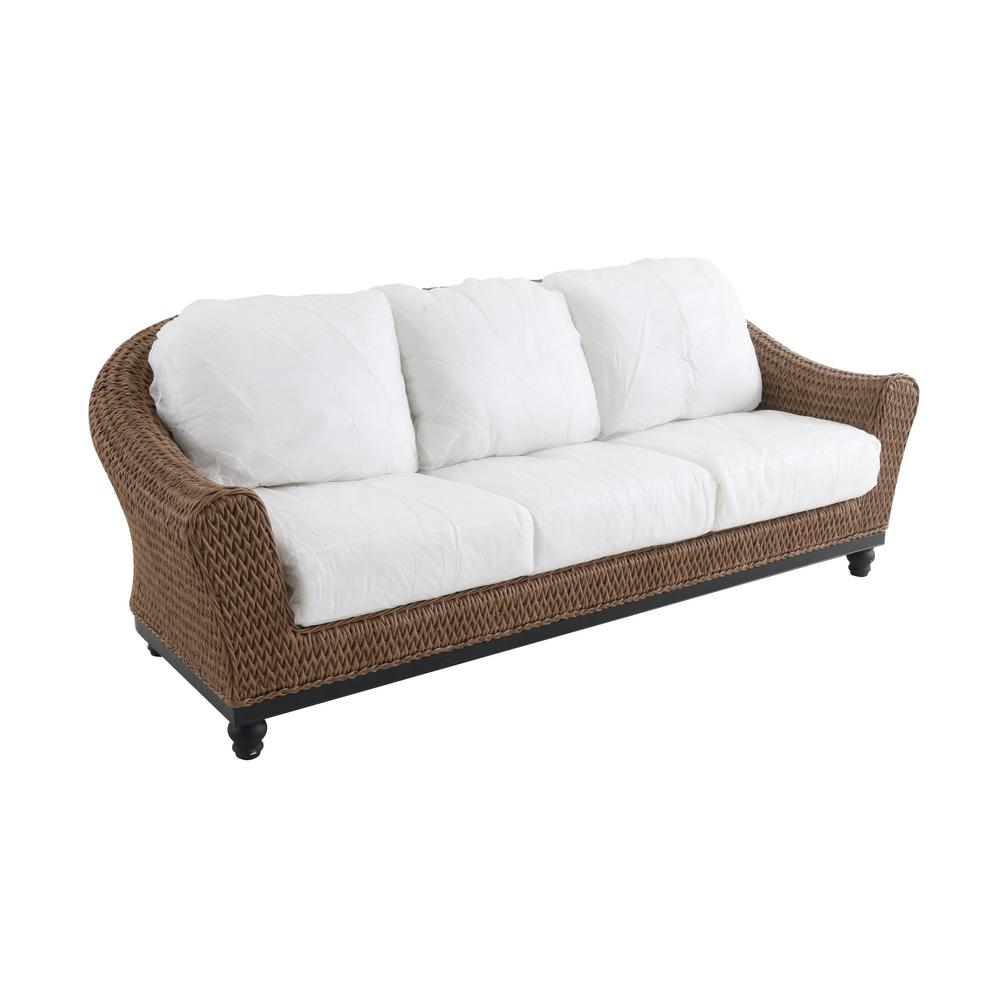 Home Decorators Collection Camden Light Brown Seagrass Wicker Outdoor Patio  Sofa with Bare Cushions