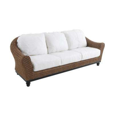 Camden Light Brown Wicker Outdoor Sofa with Cushion Inserts (Slipcovers Sold Separately)