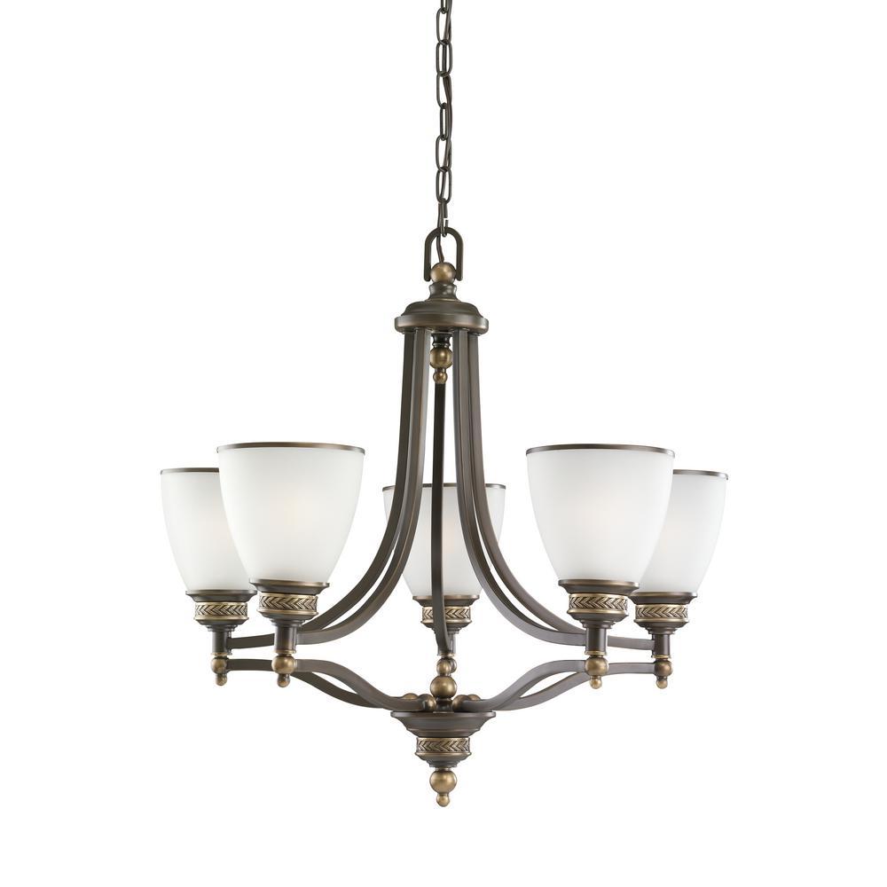 sea gull lighting laurel leaf 5 light estate bronze chandelier 31350en 708 the home depot. Black Bedroom Furniture Sets. Home Design Ideas