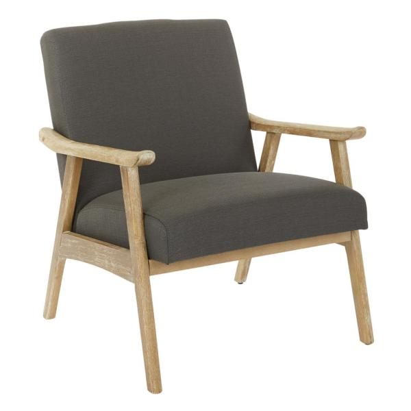 Weldon Klein Charcoal Fabric Chair with Brushed Frame