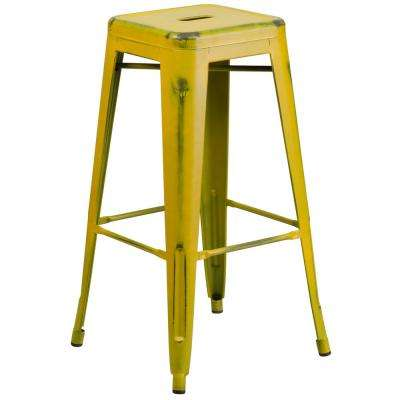 Wonderful Distressed Yellow Bar Stool