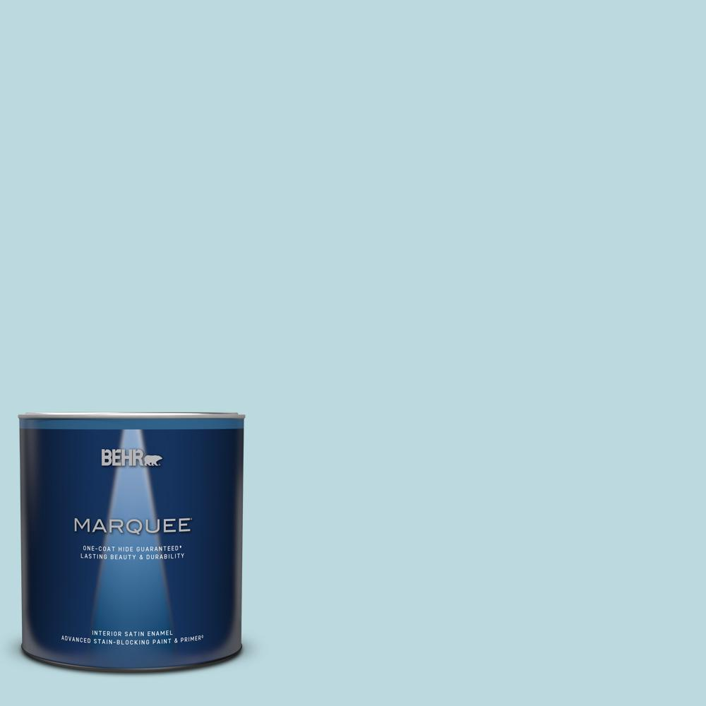 BEHR MARQUEE 1 qt. #S460-1 Air Blue Satin Enamel Interior Paint and Primer in One