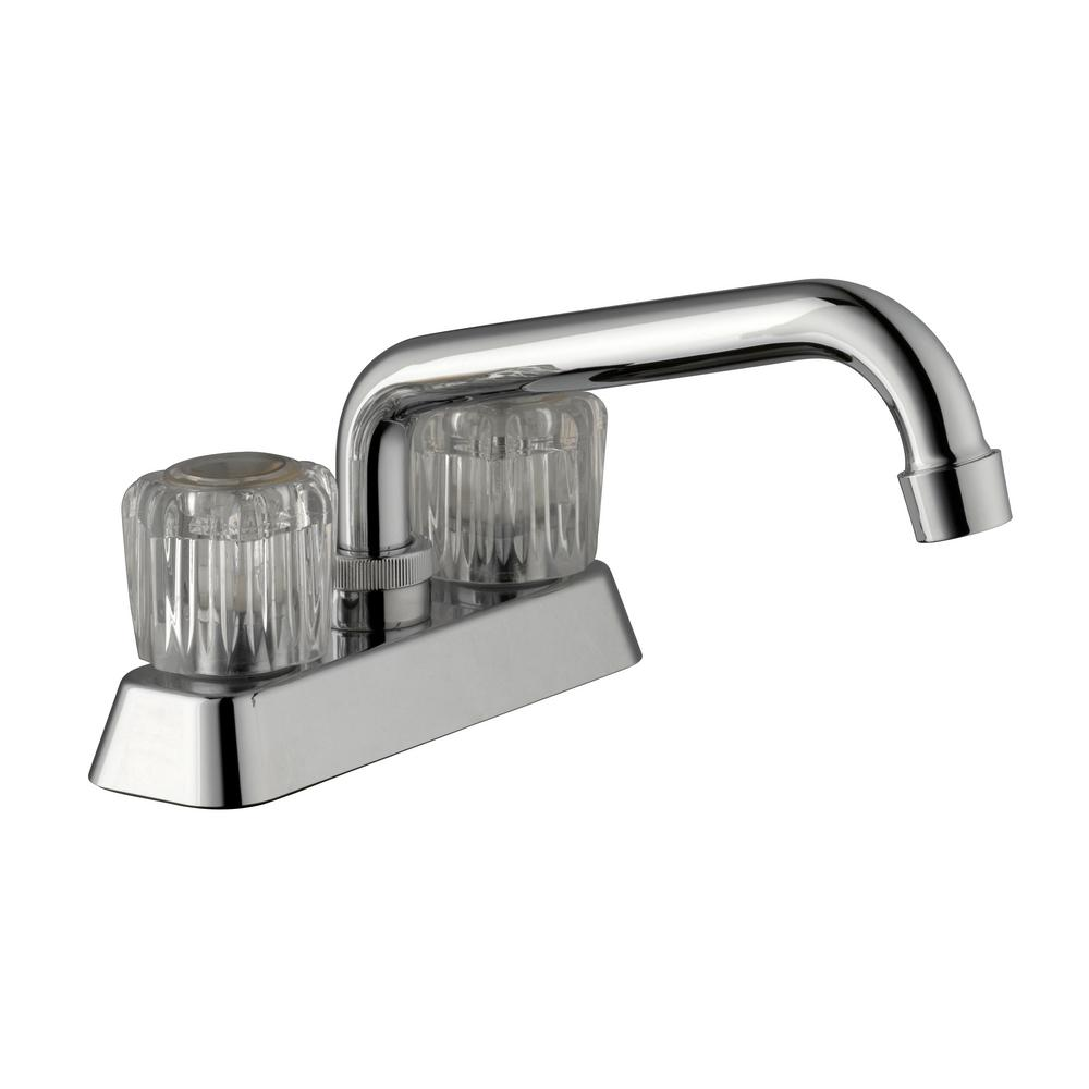 Glacier Bay Aragon 4 in. Centerset 2-Handle Laundry Faucet in Chrome ...