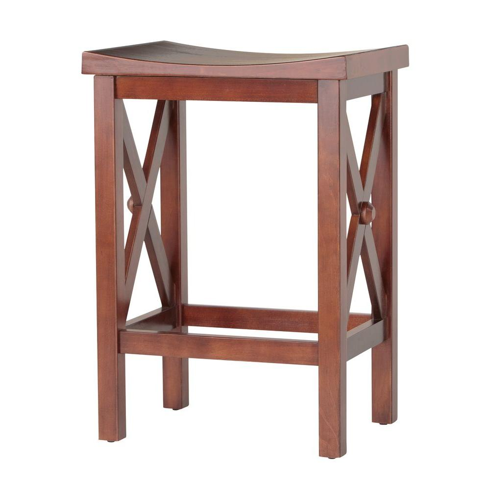 Home Decorators Collection Brexley Chestnut Saddle Stool-DISCONTINUED