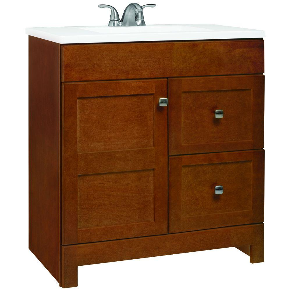 Glacier Bay Artisan 30.5 in. W Bath Vanity in Chestnut with Cultured Marble Vanity Top in White with White Sink
