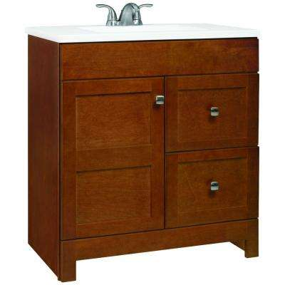 Artisan 30.5 in. W Bath Vanity in Chestnut with Cultured Marble Vanity Top in White with White Sink