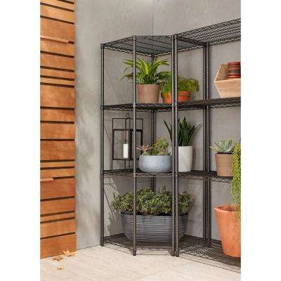 PRO 18 in. x 24 in. x 24 in. x 72 in. Black Anthracite 4 Tier Corner Garage Shelving Unit