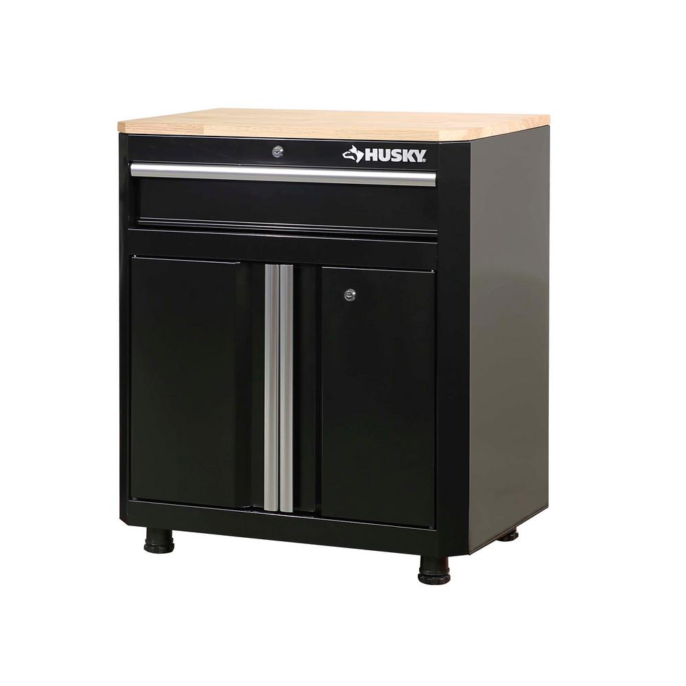 Husky 28 in. W x 33 in. H x 18 in. D 1-Drawer 2-Door Steel Garage Base Cabinet