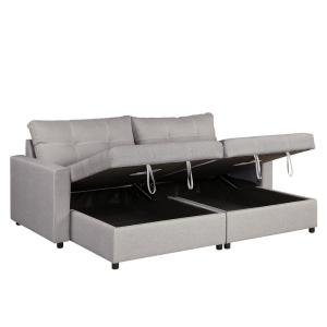 Tremendous Ac Pacific Robin Gray Upholstered Sofa Chaise With 2 Storage Inzonedesignstudio Interior Chair Design Inzonedesignstudiocom