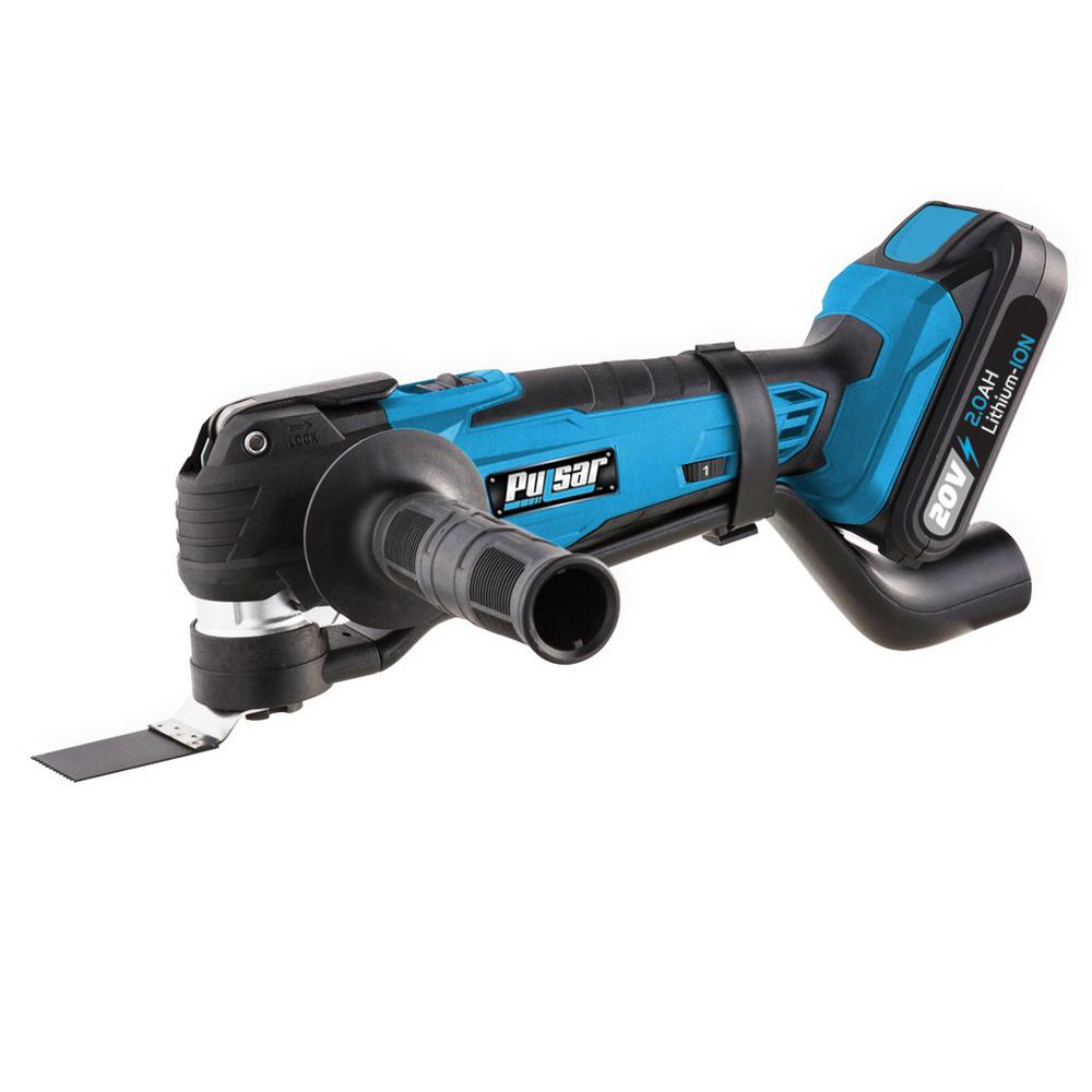 Pulsar 20-Volt Lithium-Ion Cordless Oscillating Multi-Tool w/ One 2 Ah Battery, 1-Hour Charger and Assorted Blades