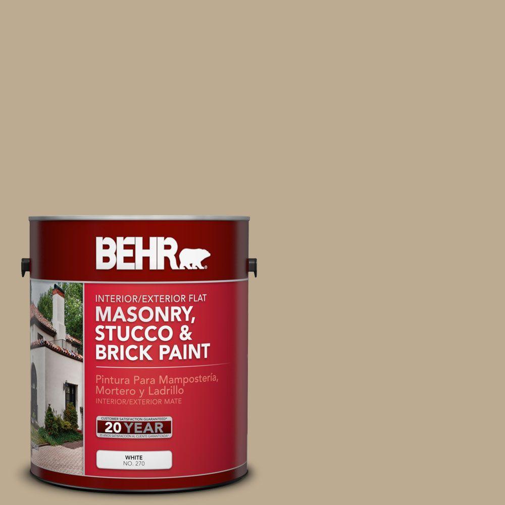 1-gal. #MS-44 Autumn Tan Flat Interior/Exterior Masonry, Stucco and Brick Paint