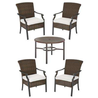 Harper Creek Brown 5-Piece Steel Outdoor Patio Dining Set with CushionGuard Chalk White Cushions