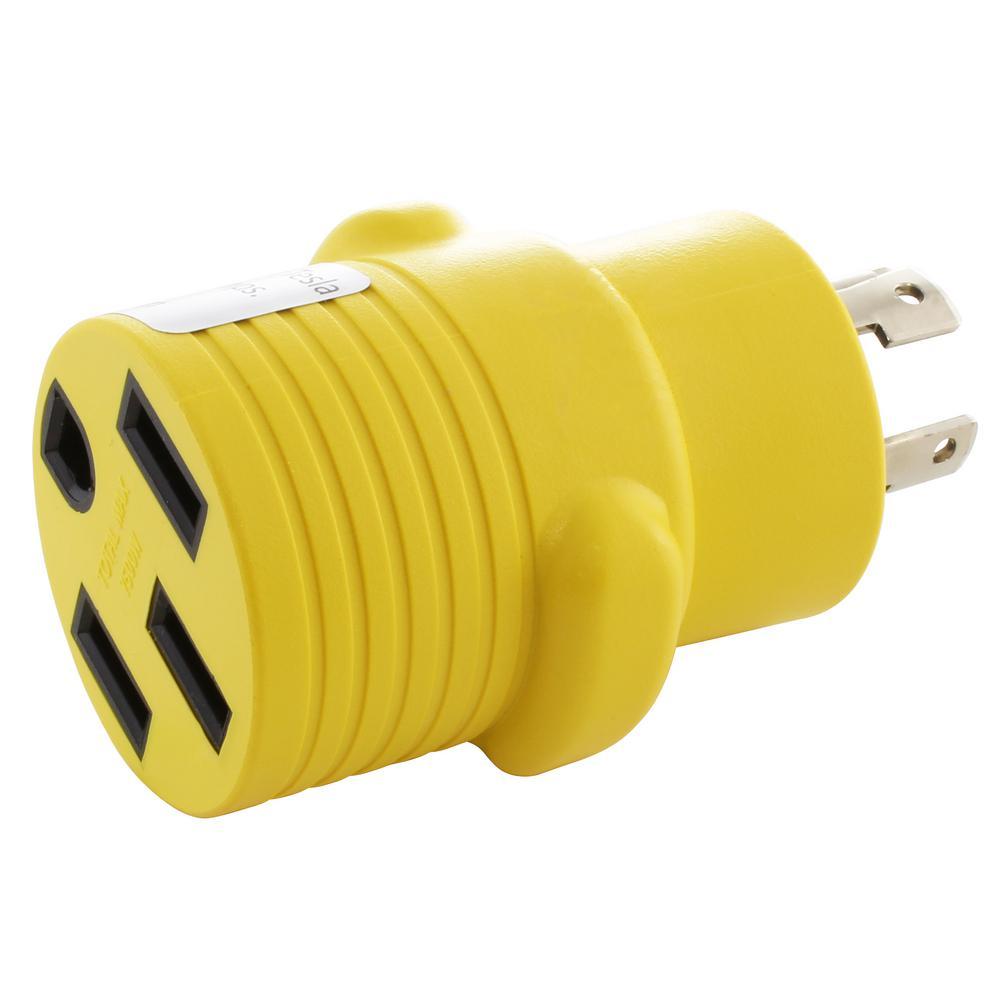 Locking Adapter NEMA L14-30P 30 Amp 125/250-Volt 4-Prong Locking Plug to 50 Amp Straight Blade RV/EV/Range Connector