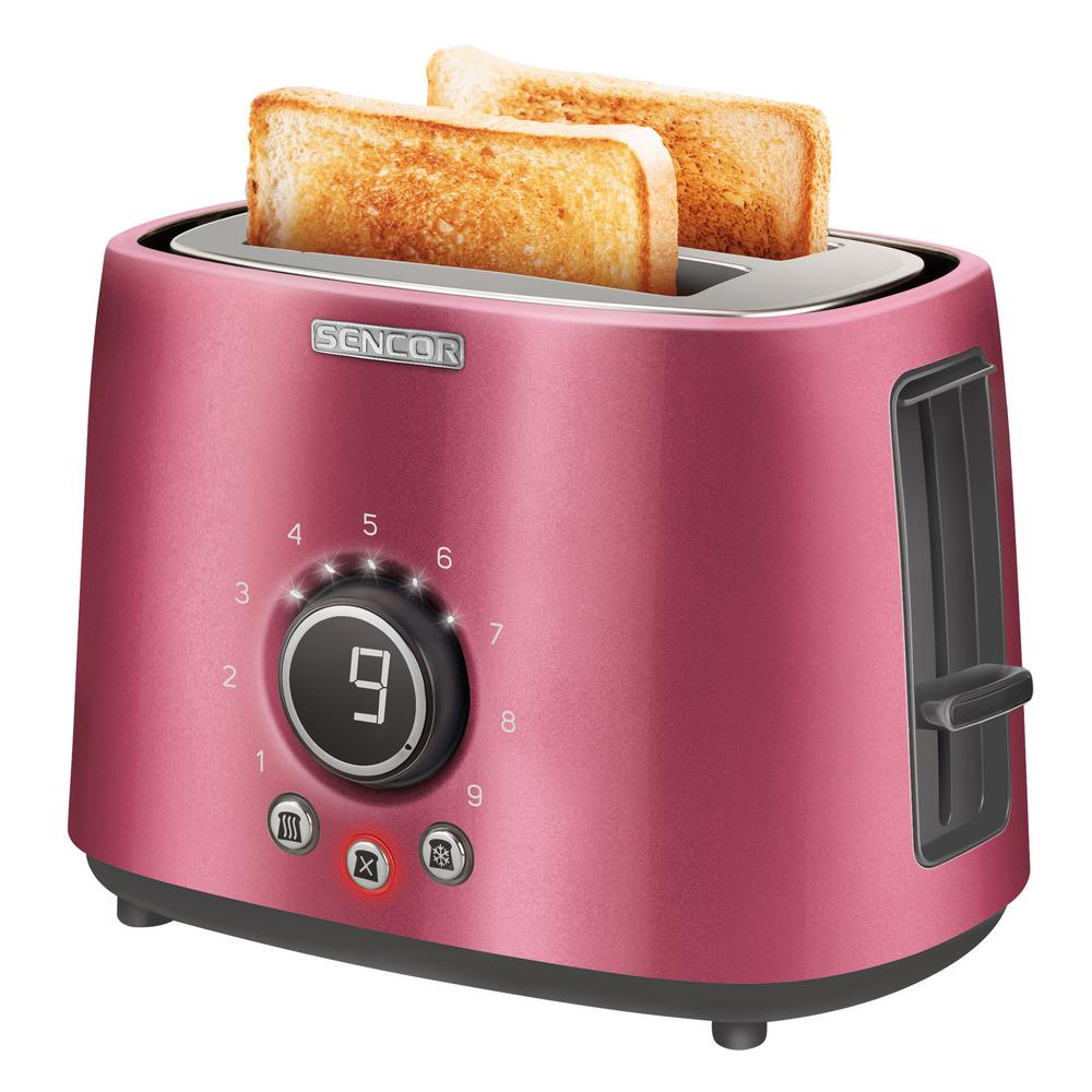 800-Watts 2 Slice Red Long Slot Toaster with Rack