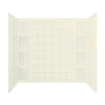 Ensemble Tile 37-1/2 in. x 60 in. x 54-1/4 in. 3-piece Direct-to-Stud Tub Wall Set in Biscuit