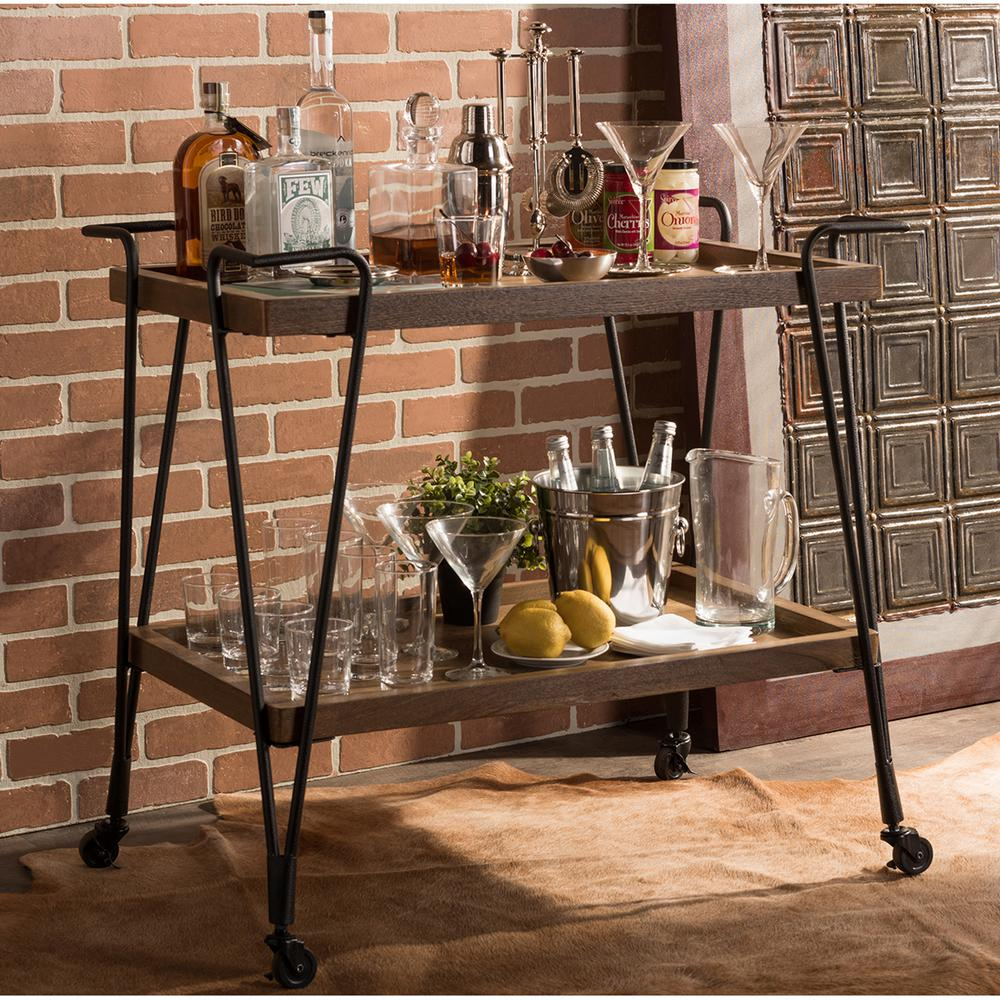 Jessica Black and Medium Brown Wine Cart