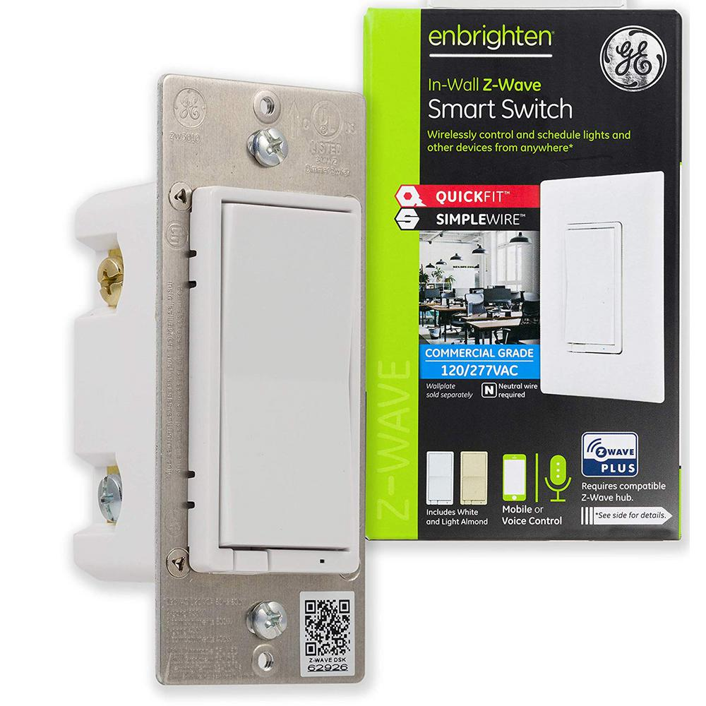 Enbrighten Z-Wave Plus Smart Light Switch, White and Light Almond