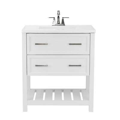 Milan 31 in. Bath Vanity in White with Cultured Marble Vanity Top in White with White Basin