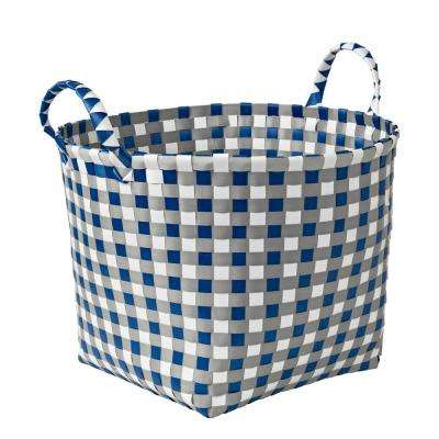 16 in x 11 in Brilliant White Gray and Royal Blue PP Resin Weave Basket Round