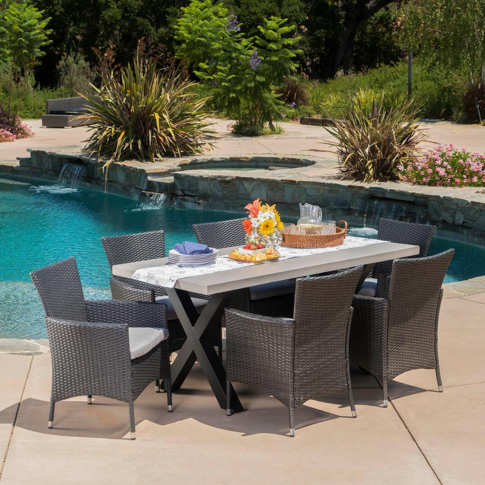 Noble House Black 7-Piece Wicker Rectangular Outdoor Dining Set with Silver Cushion