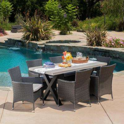 Black 7-Piece Wicker Rectangular Outdoor Dining Set with Silver Cushion