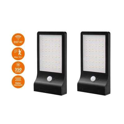 Modern Flat Panel Bright Black 350-Lumen Motion Activated Outdoor 6500K Solar Powered Landscape Flood Light (2-Pack)