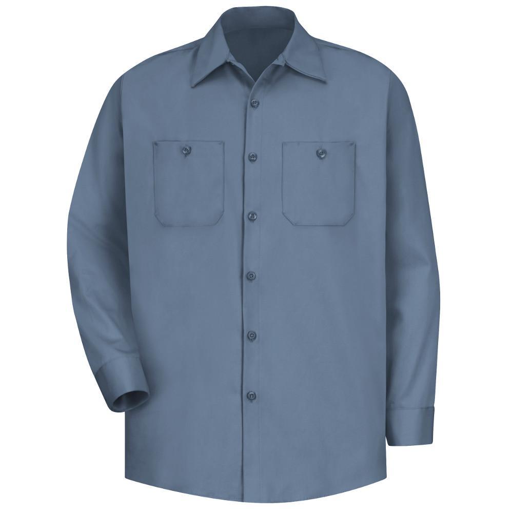 Men's Size L (Tall) Postman Blue Wrinkle-Resistant Cotton Work Shirt