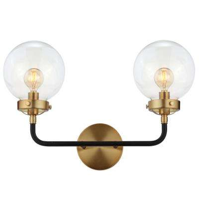 Caleb 18 in. 2-Light Black/Brass Wall Sconce