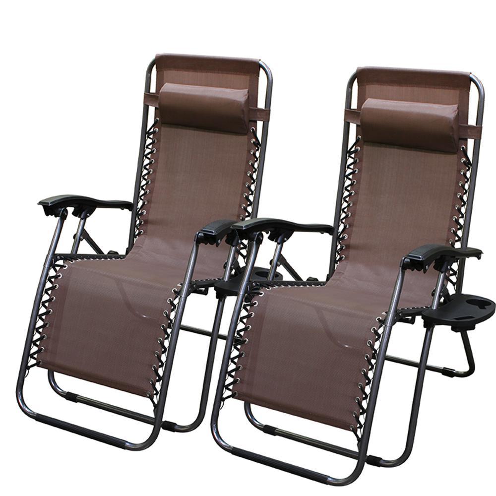 Barton Zero Gravity Brown Adjule Plastic Outdoor Lounge Chair Set Of 2