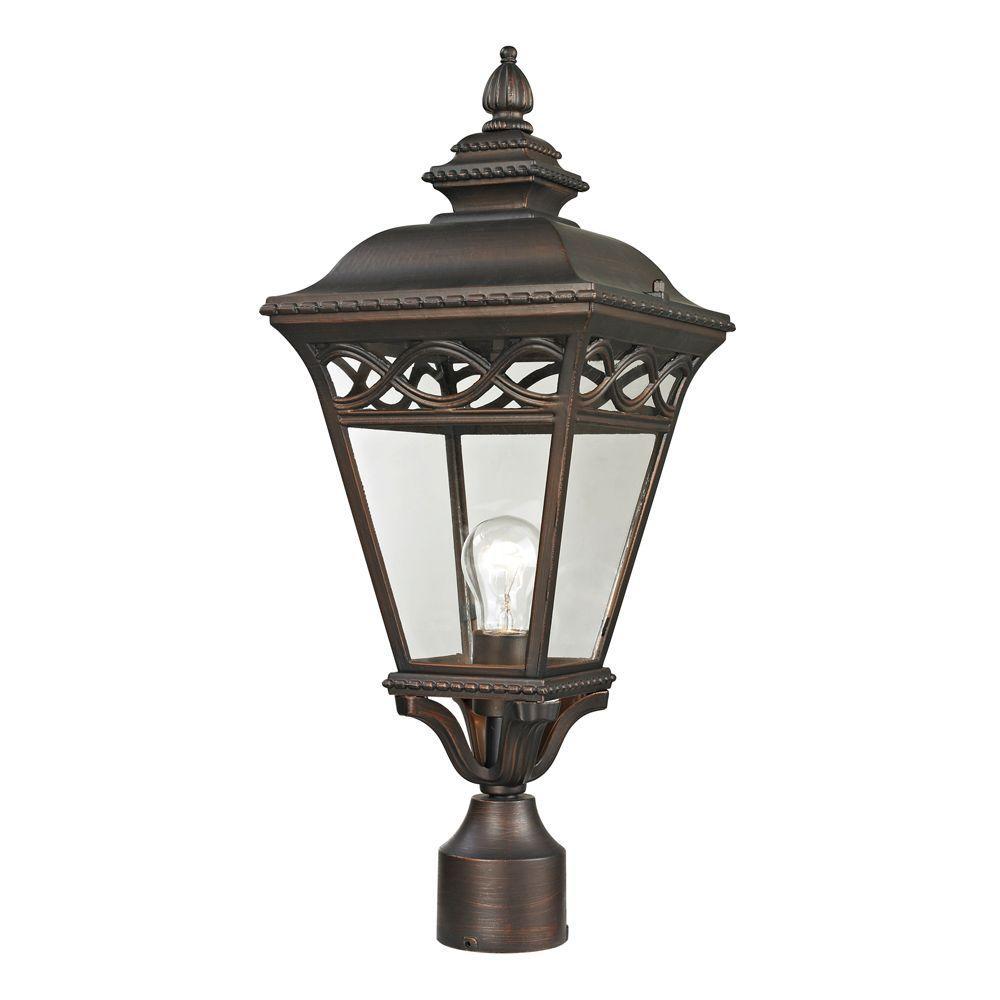 Mendham 1-Light Outdoor Hazelnut Bronze Post Lantern