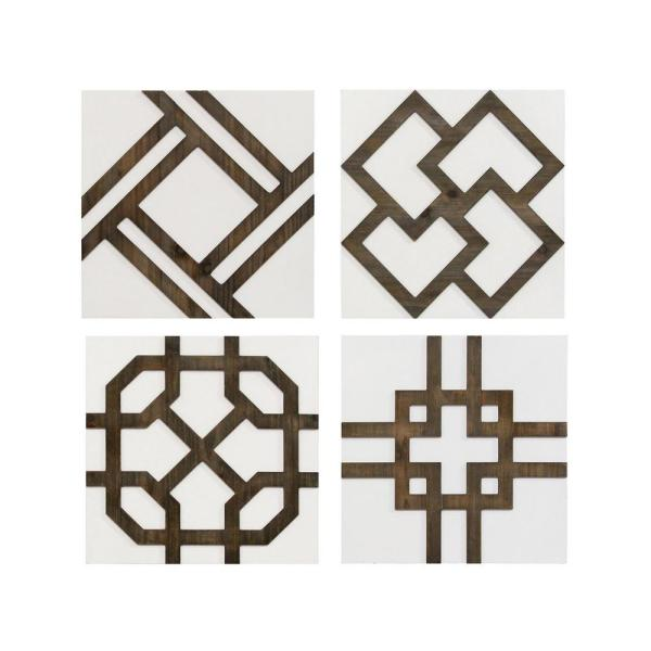 Stratton Home Decor Wood Accent Wall Decor Set Of 4 S23833 The Home Depot