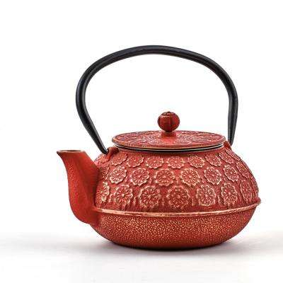 "2.75-Cups Red/Gold 22 oz. Cast Iron ""Cherry Blossom"" Teapot"