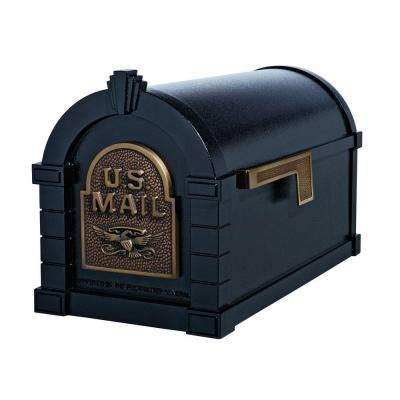 Keystone Series Aluminum Post-Mount Mailbox Black with Antique Bronze