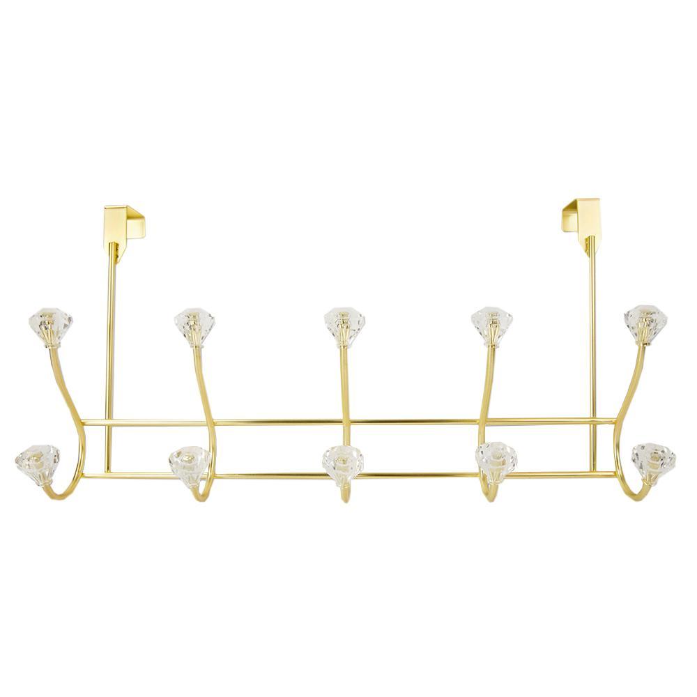 17 in. Gold Steel 5-Hooks Over The Door Hanging Rack