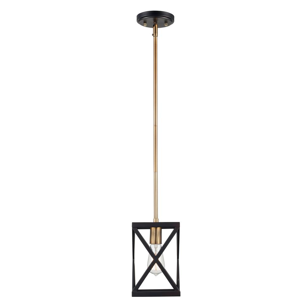 Ackerman 1-Light Rubbed Oil Bronze and Antique Brass Pendant