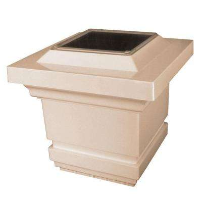 4 in. x 4 in. Tan PVC Outdoor Classy Solar Post Cap (2-Pack)