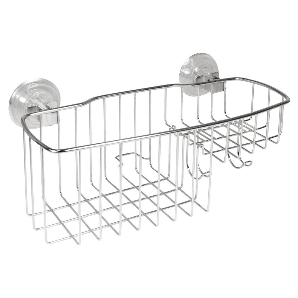 InterDesign PowerLock Reo Combo Shower Basket In Stainless Steel