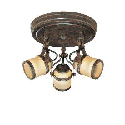 3-Light Iron Oxide Ceiling Semi-Flush Mount Fixture